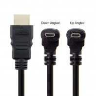 Up & Down Angled 90 Degree Micro HDMI to HDMI Male HDTV Cable for Cell Phone & Tablet & Camera