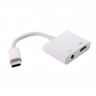 USB-C to 3.5mm Earphone AUX Audio & Type-C Female Combo Adapter for Cell Phone Tablet